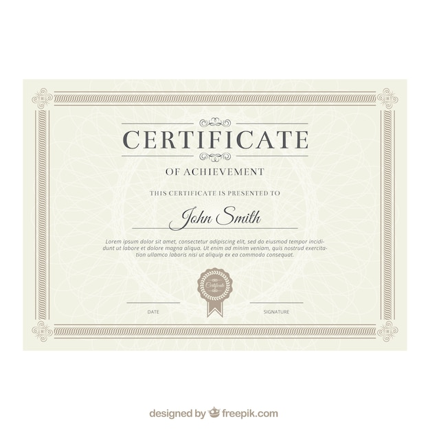 Certificate vectors photos and psd files free download elegant certificate template yelopaper Gallery