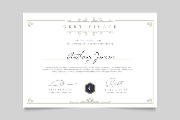 Элегантный сертификат с шаблоном рамки Бесплатные векторы