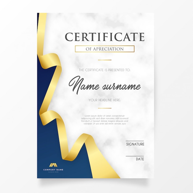 Elegant certificate with golden ribbon Free Vector