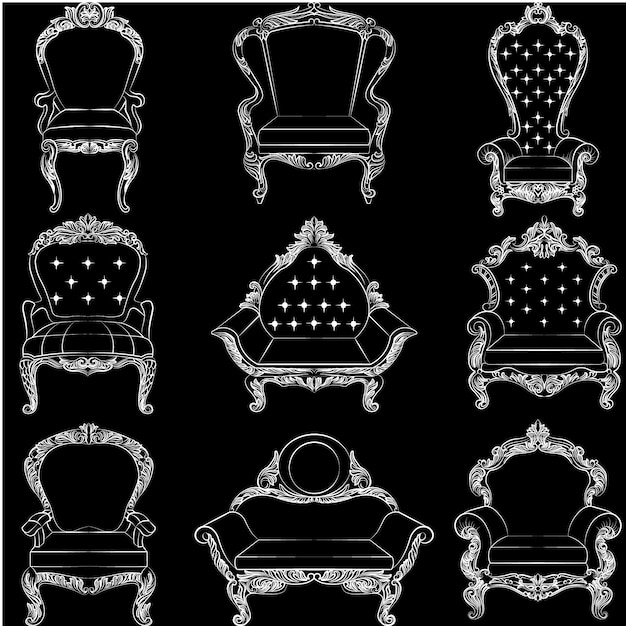 Elegant Chairs Collection Free Vector