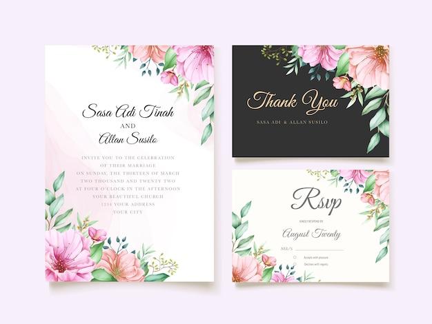 Tema elegante dell'invito di nozze del fiore di ciliegia Vettore gratuito