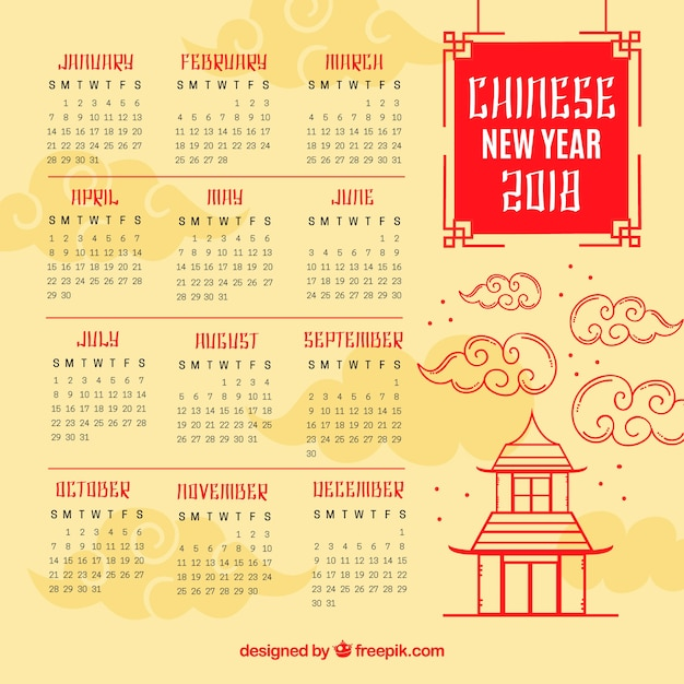 Elegant Chinese New Year Calendar Template Vector Free Download