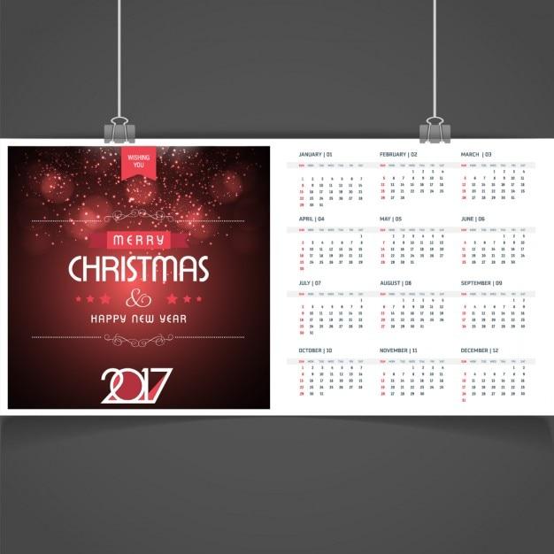 Elegant christmas 2017 calendar Free Vector