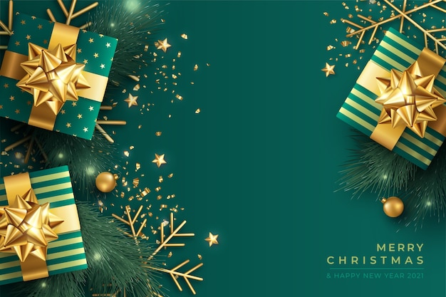 Elegant christmas background in green and golden Free Vector
