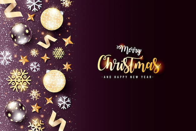 Elegant christmas background with black and golden decoration Free Vector
