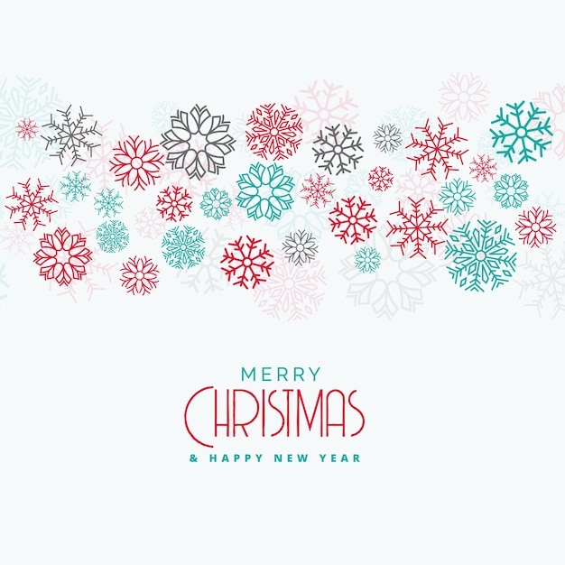elegant christmas background with colorful flowing snowflakes Free Vector