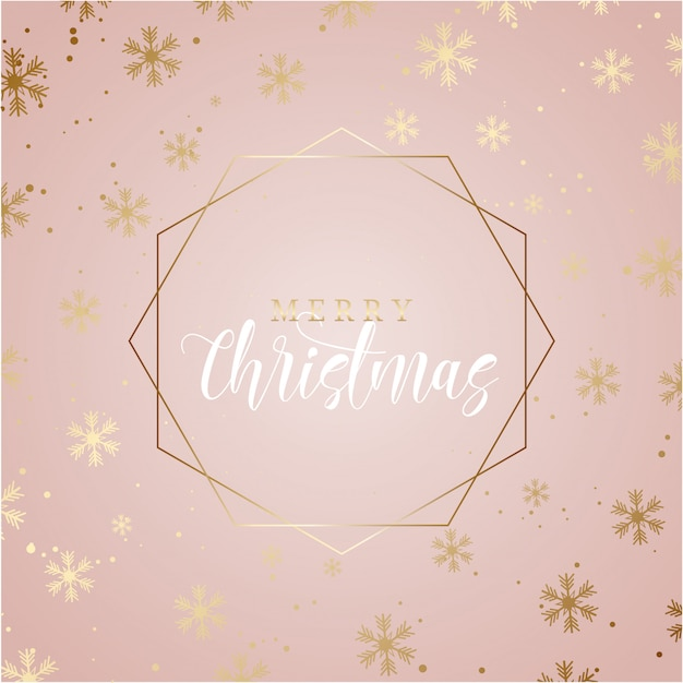 Elegant christmas background with gold snowflakes Free Vector