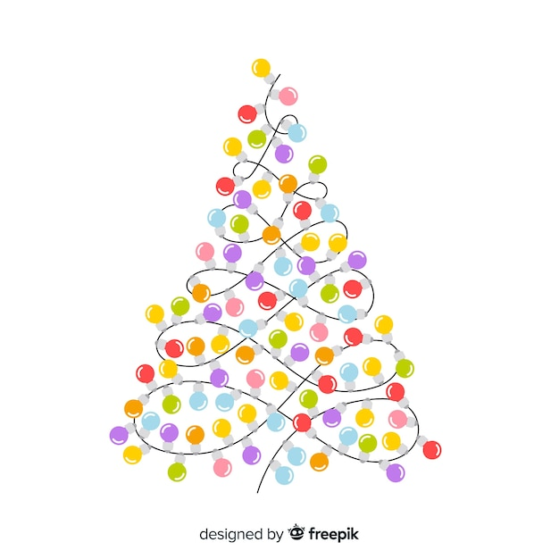 Christmas tree elegant. Background with light bulb