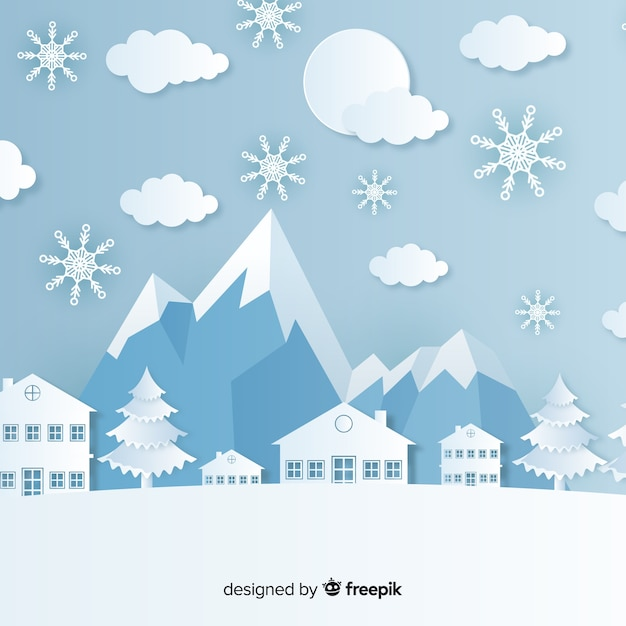 Elegant christmas background with paper style Free Vector