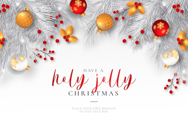 Elegant christmas background with realistic ornaments Free Vector