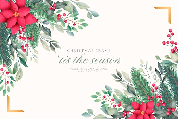 Elegant christmas background with watercolor nature Free Vector
