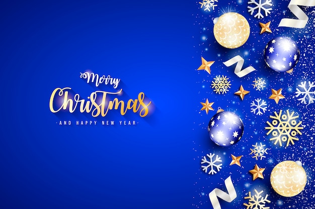 Elegant christmas banner with blue background Free Vector