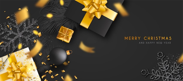 Elegant christmas banner with golden gifts Free Vector