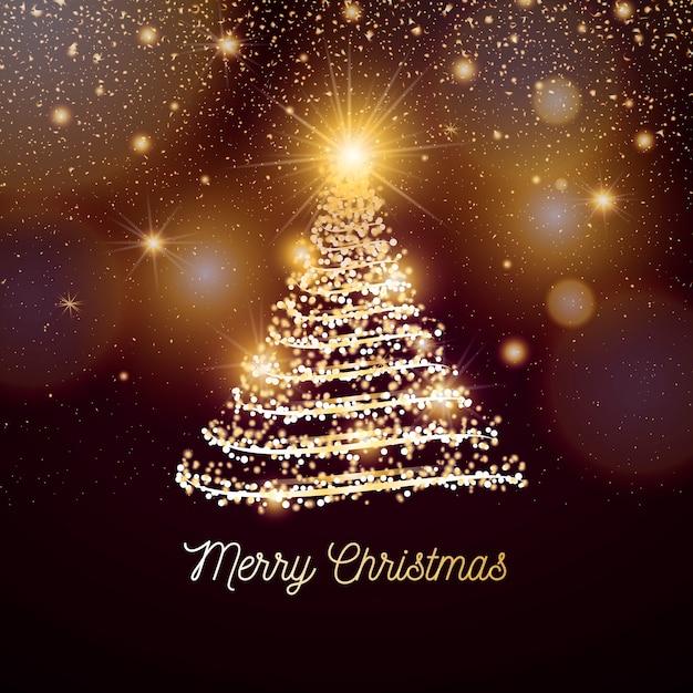 黄金色のライトとエレガントなクリスマスバナー 無料ベクター