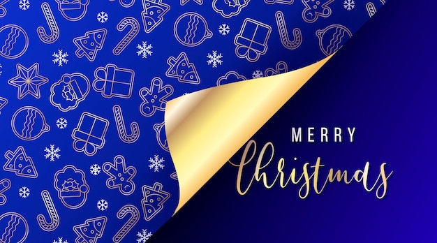 Elegant christmas banner with open gift wrap paper Free Vector