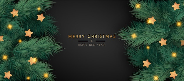 Elegant christmas banner with realistic branches Free Vector