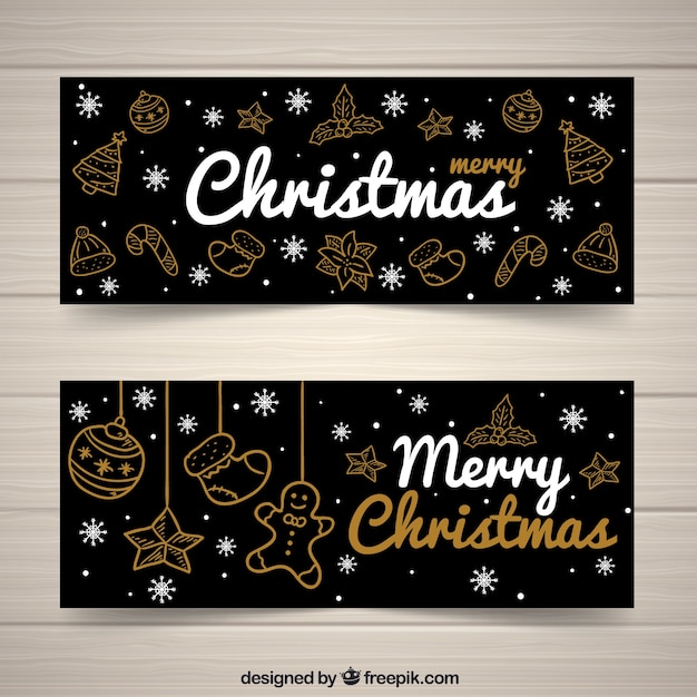 Elegant christmas banners with golden sketches