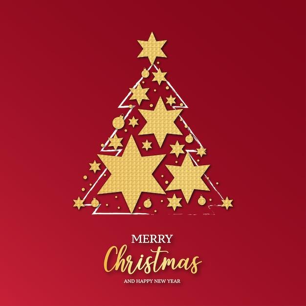 Elegante biglietto di natale con albero di natale decorato con stelle dorate Vettore gratuito