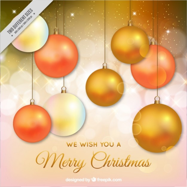 Elegant Christmas card with golden\ baubles