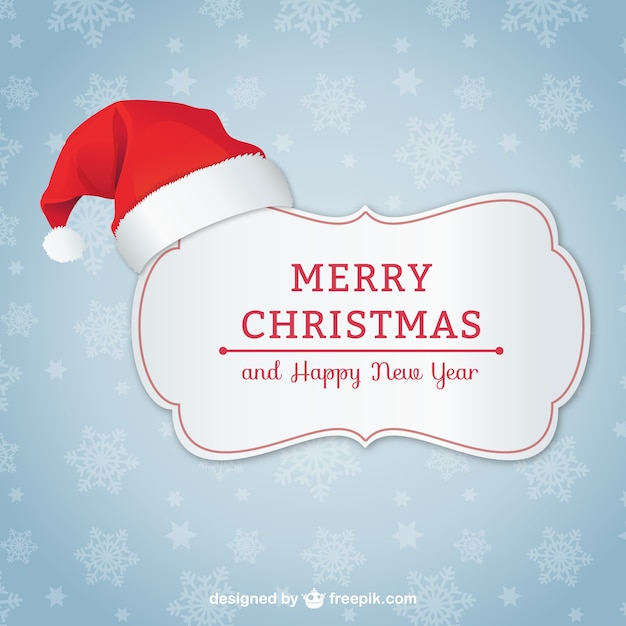 elegant christmas card with santa hat free vector - Elegant Christmas Cards