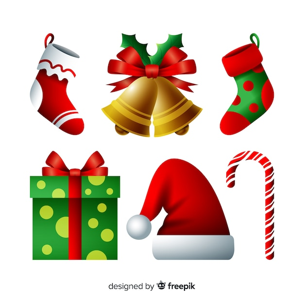 Elegant christmas element collection with realistic design Free Vector