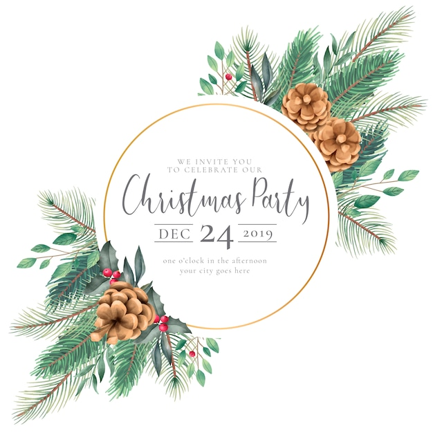 Elegant christmas frame with watercolor nature invitation Free Vector