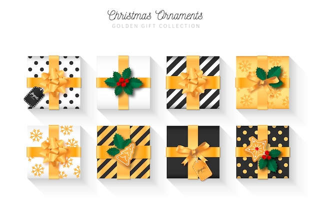 Elegant christmas gift collection with ornaments Free Vector