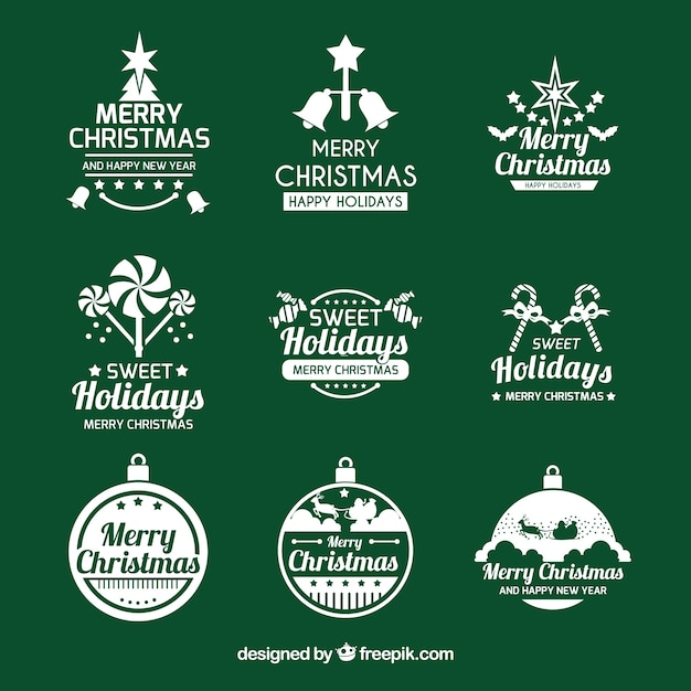elegant christmas logo collection free vector - Merry Christmas Logos