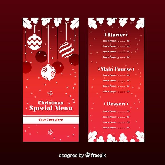 Elegant christmas menu template with flat design Free Vector
