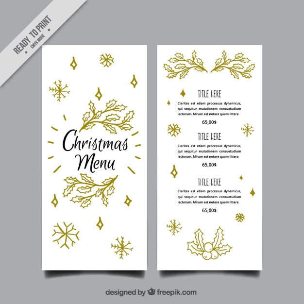elegant christmas menu template with leaves sketches vector free