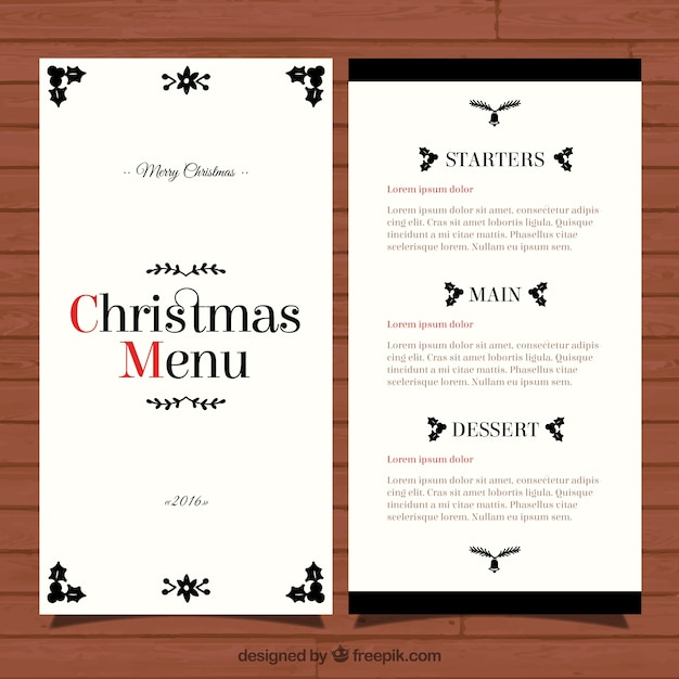 elegant christmas menu template vector free download