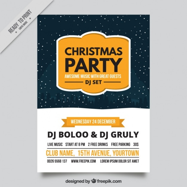 Elegant christmas party brochure with snow