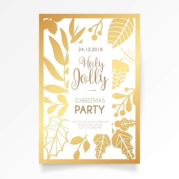 Elegant christmas party card invitation Free Vector