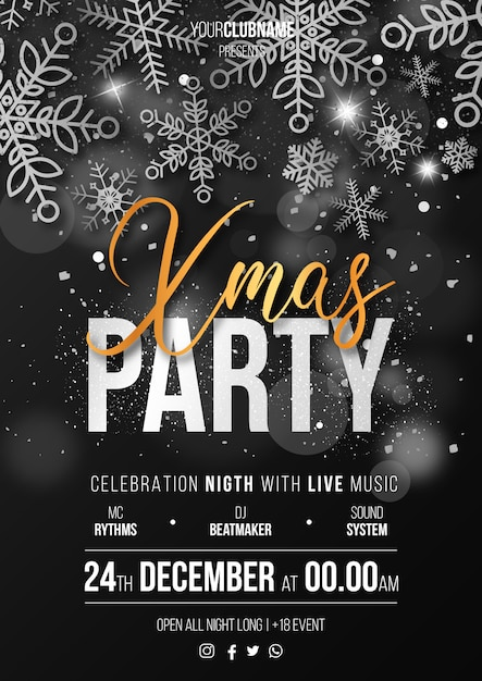 Elegant christmas party poster ready to print Free Vector