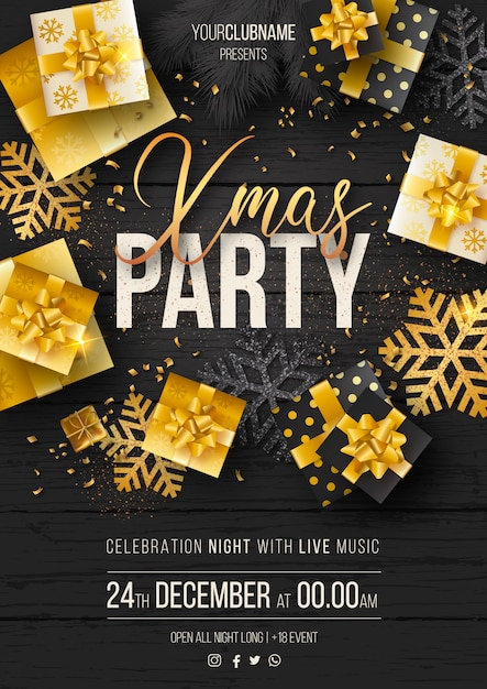 Elegant christmas party poster template with luxury gifts Free Vector