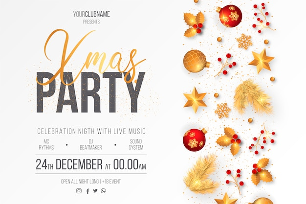 Elegant christmas party poster template Free Vector
