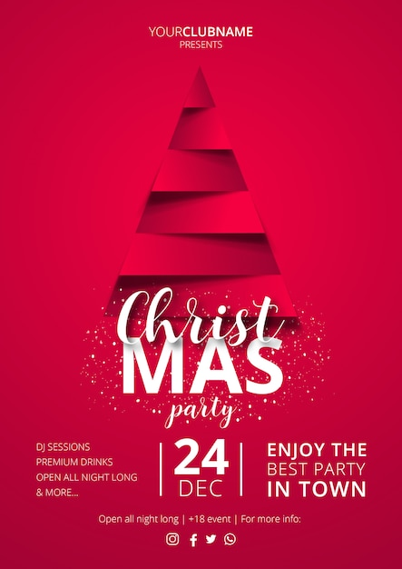 elegant christmas poster template vector free download