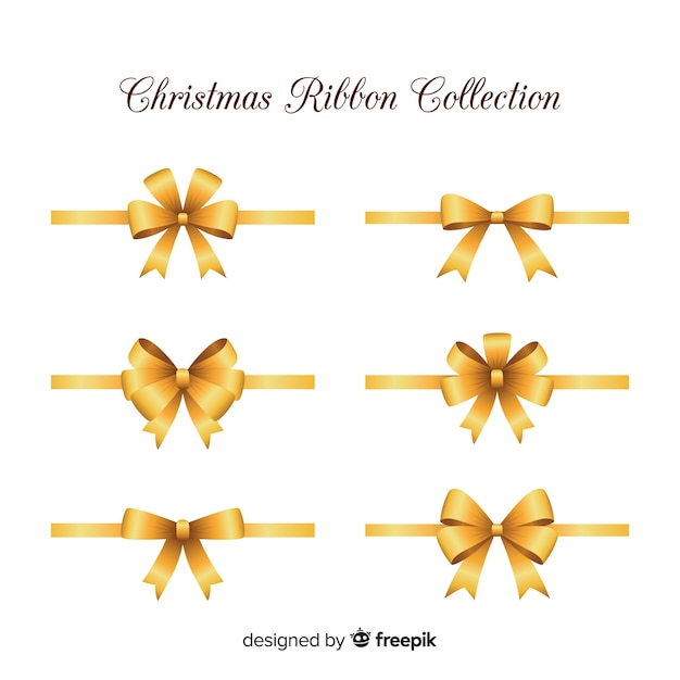 Elegant christmas ribbons with realistic design Free Vector