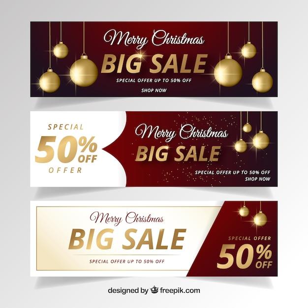 Elegant christmas sale banners