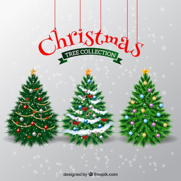 elegant christmas trees free vector - Elegant Christmas Trees