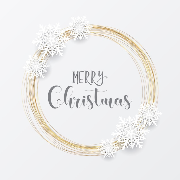 Elegant christmas with gold circular frame and snowflakes Free Vector