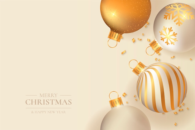 Elegant christmas with golden balls Free Vector