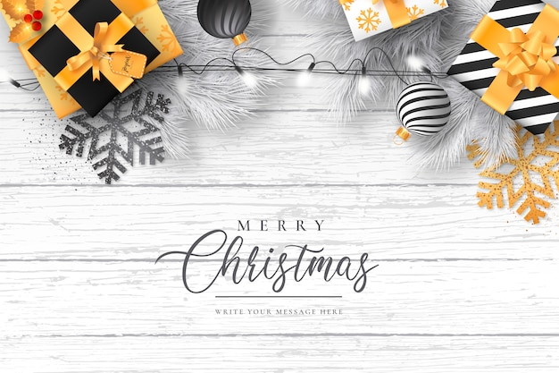 Elegant christmas with modern decoration Free Vector