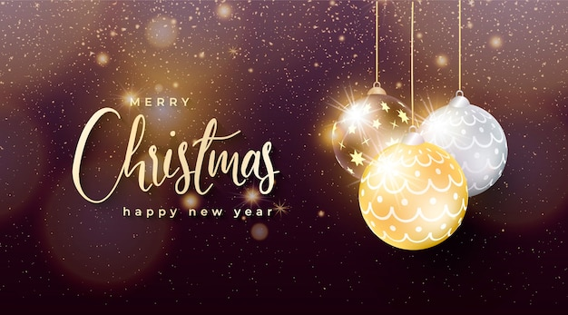 Elegant chritsmas background with golden and silver christmas balls Free Vector