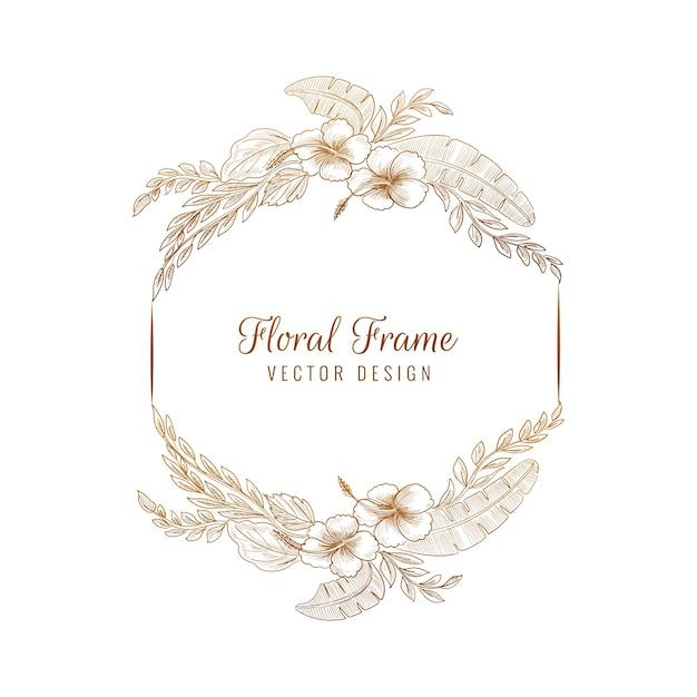 Элегантная круглая свадебная цветочная рамка Бесплатные векторы