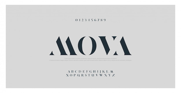 Elegant classic alphabet letters font and number Premium Vector