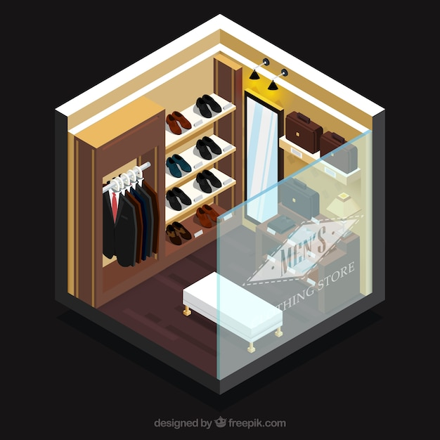 Elegant clothing store, isometric view