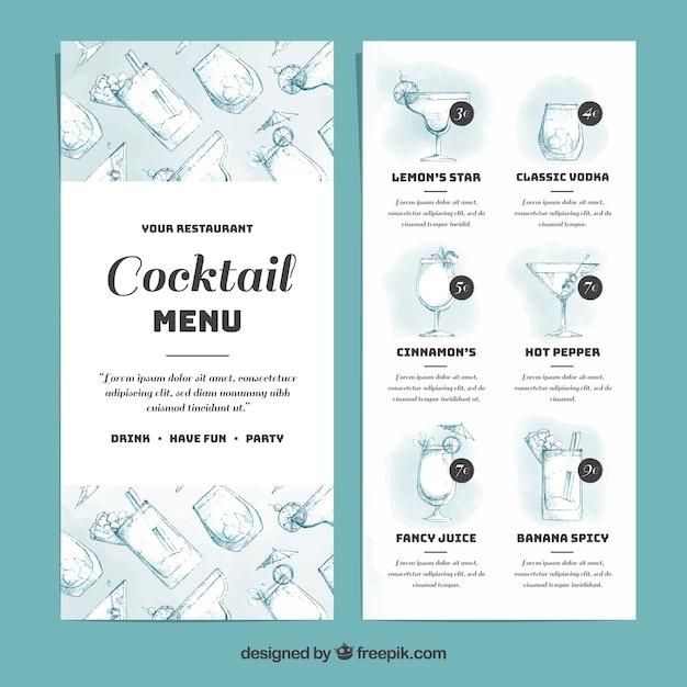 Elegant Cocktail Menu Template Free Vector  Cocktail Menu Template Free Download