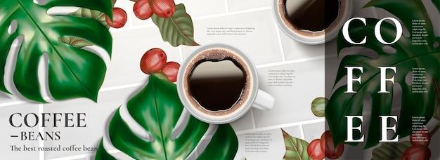 블랙 커피와 열대 잎의 평면도가있는 우아한 커피 배너 광고 프리미엄 벡터