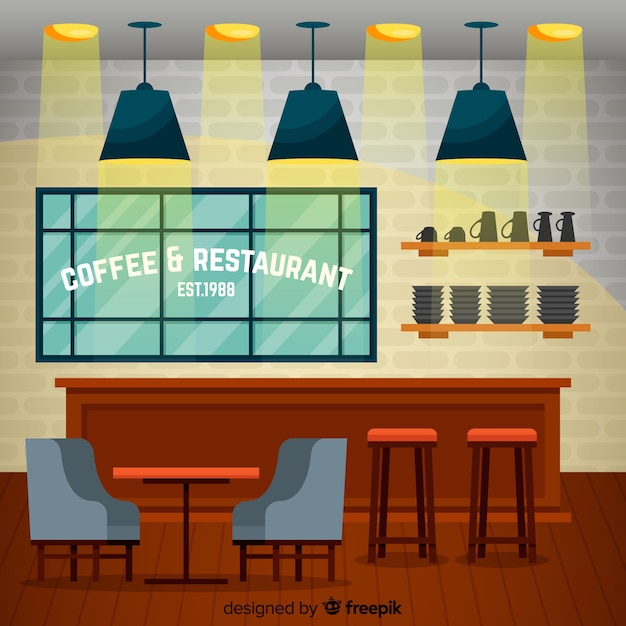 Elegant coffee shop interior with flat design Free Vector